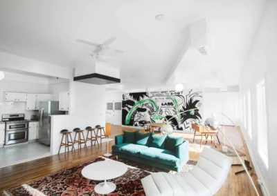 studio apartment with natural light streaming in