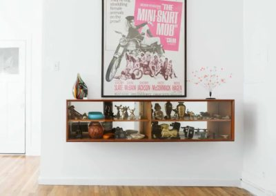 wall shelf and poster